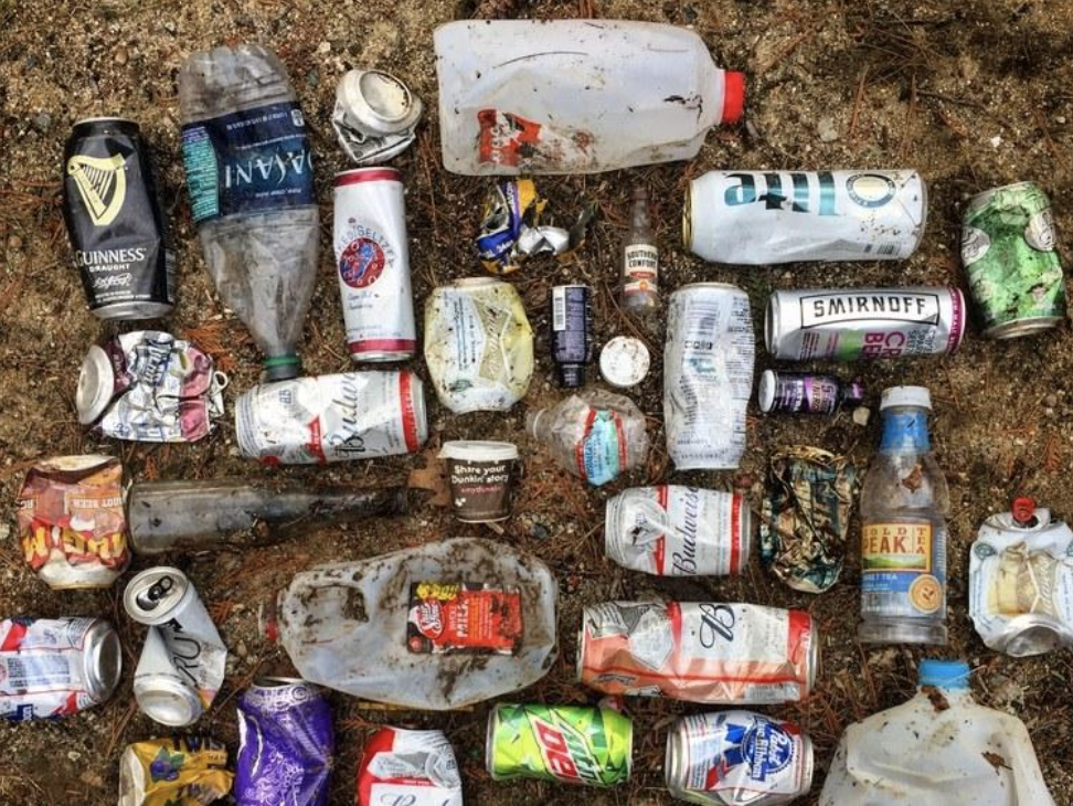 a patch of trash that was picked up while plogging